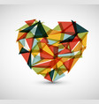 retro heart made from color triangles vector image vector image