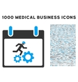 Running Worker Calendar Day Icon With 1000 Medical vector image vector image