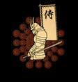 samurai standing with sword and flag vector image vector image