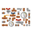 sanitary engineering plumbing equipment set icons vector image