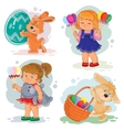 set clip art with young children vector image