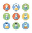 Set of faces icons of occupation in flat style vector image vector image