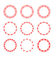 set of simple modern round red frames in love vector image