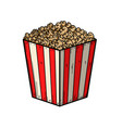 set popcorn box in engraving style design vector image