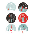 set round label with winter and christmas illus vector image