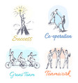 success and co-operation set vector image