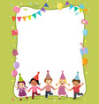template with cartoon happy kids holding hands vector image