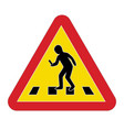 traffic sign warning pedestrian smartphone vector image vector image
