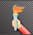 transperent background victory flame symbol hand vector image vector image