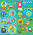 trendy flat design ecology set of web icons vector image