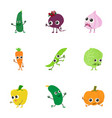 vegetable salad icons set cartoon style vector image vector image