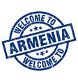 welcome to armenia blue stamp vector image vector image