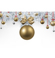 white background with golden christmas ball vector image vector image