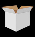 white cardboard open box side view package design vector image vector image