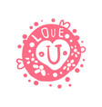 love u logo template colorful hand drawn vector image