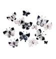 Spring butterflies pattern set background vector image