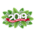2019 paper cut christmas tree branches vector image
