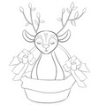 adult coloring bookpage a cute little deer in a vector image vector image