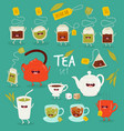 animated tea accessories invite to drink tea vector image