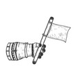 astronaut hand with blank white flag sketch vector image vector image