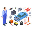 auto mechanic and car tool isometric technician vector image vector image