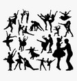 ballet couple dance silhouette vector image vector image