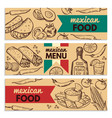 banners set with picture of different mexican vector image vector image