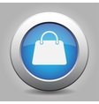 blue metal button with handbag vector image vector image