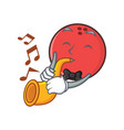 bowling ball character cartoon with trumpet vector image vector image
