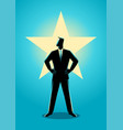 businessman standing with glowing star on his vector image vector image