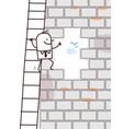 cartoon man climbing up a wall opening vector image