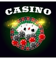 Casino poster of roulette and poker cards vector image vector image