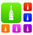 champagne bottle set color collection vector image vector image