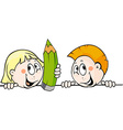 Child holding a pencil and peeking from behind a vector image vector image