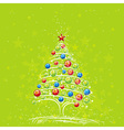 christmas tree on the green background vector image vector image