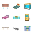 City elements icons set cartoon style vector image vector image