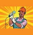 construction worker with light bul vector image vector image