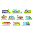 cottage houses on lake or river home buildings set vector image vector image