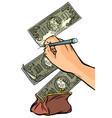 counterfeiter draws money dollars money falls vector image vector image