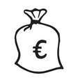 doodle money bag icon with euro pattern vector image