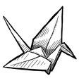 doodle paper crane origami vector image vector image