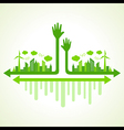 Ecology concept with helping hand vector image vector image