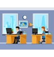 Employees creative team working in the office vector image vector image