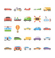 flat icons set of transport vector image vector image