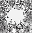 frame with hand drawn doodle fancy flowers vector image