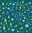 funny cartoon monster seamless pattern alien vector image