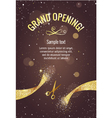 Grand opening banner with golden splashes vector image vector image