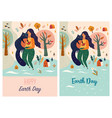 happy earth day template with woman and cat vector image vector image
