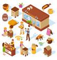honey farm isometric icons set vector image vector image