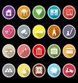 Insurance related flat icons with long shadow vector image vector image
